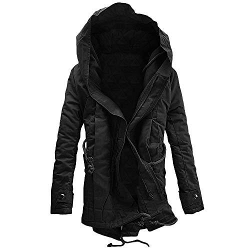 Pandaie-Mens Product Work Wear for Men Winter. Men Winter Warm Hooded Zip Thick Solid Fleece Coat Outwear Wind Jacket Black