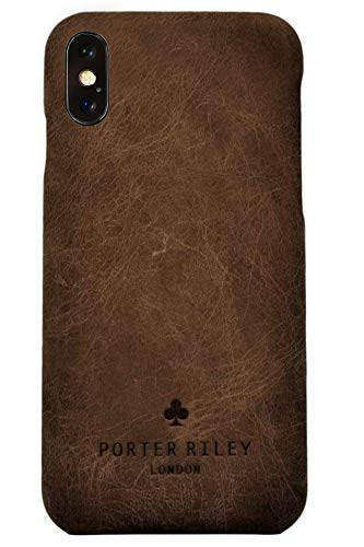 Porter Riley - Lederhülle für iPhone X/iPhone XS. Premium Ultra Dünn Echtleder Cover/Ledertasche/Backcover kompatibel mit iPhone X/XS (Schokoladenbraun)