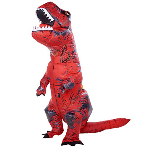 Lulu Home Halloween Dinosaur Costume, 7ft Tall T-Rex Inflatable Costume for Adult, Red