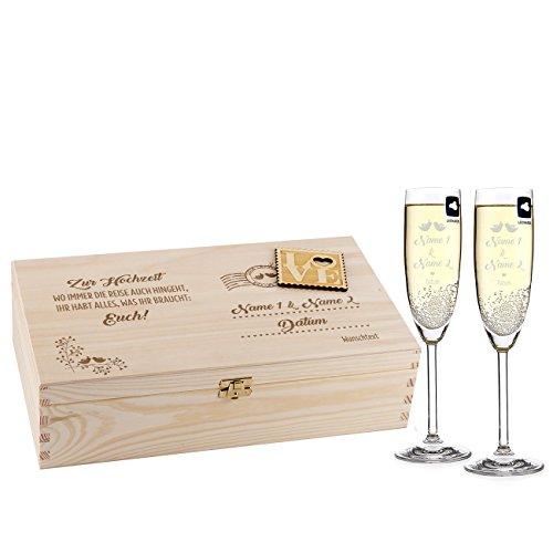 Leonardo 2 Sektgläser zur Hochzeit mit Gravur in Loveletter Holz-Geschenkbox - ideales Hochzeitsgeschenk