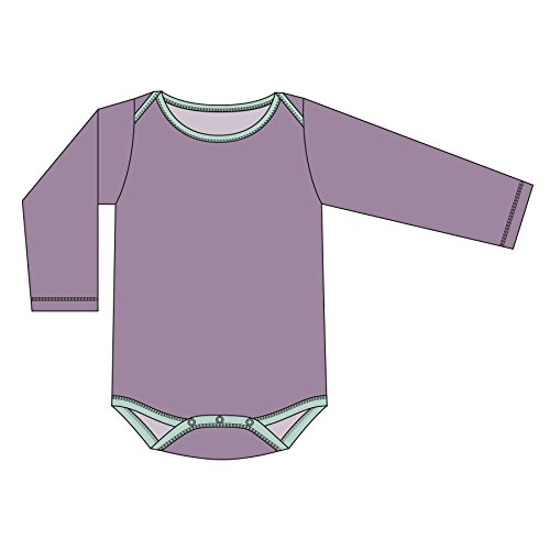 KicKee Pants Little Girls and Boys Solid Long Sleeve One Piece - Elderberry with Aloe, 3-6 Months