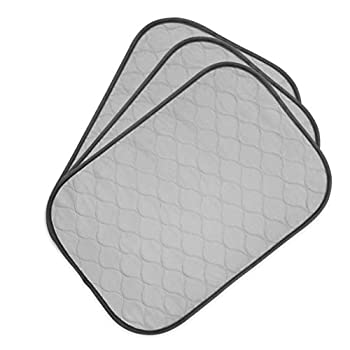 Pet Magasin Highly Absorbent Reusable Washable Pet Training Pads with Waterproof Bottom  Pack of 3  Grey Fit Standard Cage  XS