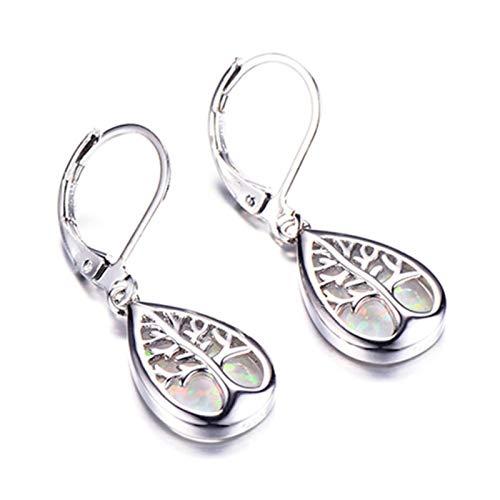 Silver Color Filled Life Tree Drop Earrings For Women Water Drop Stone Blue Fire Opal Birthstone Earrings