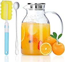Glass Pitcher, Glass Water Pitcher with Tight Stainless Steel Lid, 68 Ounces, Heat Resistant Borosilicate Glass Carafe, Long Handle Cleaning Brush and Mixing Spoon, Durable and Temperature Safe