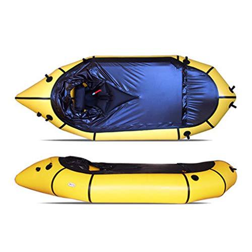 CARGA GRANDE: Este kayak puede soportar 150 kg de peso, lo suficiente para que 1 persona opere, suficiente espacio y fácil de usar. Hecho de material de PVC espesado de alta calidad que tiene un grosor de 0,3 mm, puede resistir rasgaduras, alta resis...