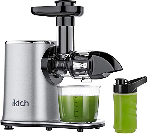 Juicer Machines IKICH 2-Speed Slow Masticating Juicer Easy to Clean, 57-84RPM for High Juice Yield, 7 Segment Spiral System Preserves Nutritional Value, Anti-Drip Cold Press Juicer with Recipes