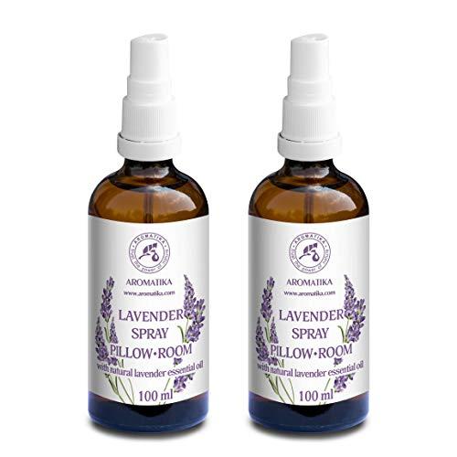 Lavendel Aromatisches Spray 2x100ml - Lavendel Kissenspray ideal für Yoga - Lavendelkissen Spray für guten Schlaf - Entspannung - Beruhigung - Raum-Spray mit 100% Reinem Lavendelöl
