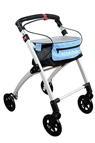 KMINA - Rollator lichtgewicht en opvouwbaar, Rollators binnen en buiten, Rollator lichtgewicht 4 wielen, Rollators voor ouderen, Opvouwbare rollator, KMINA Pro Blauw
