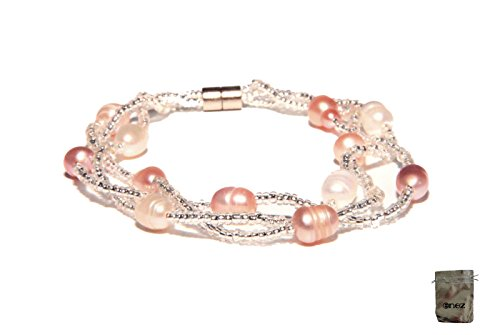 Enez Echt Süßwasser Zucht Perlenkette Armband Armkette 18cm Magnetverschluß R1288a + Geschenkbeutel