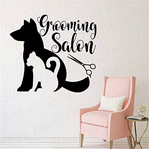 BJWQTY Haustierpflegesalon Wandtattoo Tierhandlung Vinyl Aufkleber Tierdekoration Katze und Hund Salon Wandtattoo Kunst