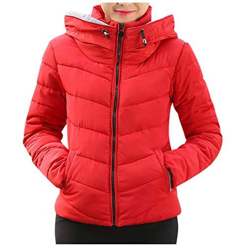 Xmiral Baumwolle Gepolsterte Jacken für Damen Slim Fit Steppjacke Einfarbige, Dicke Reißverschluss-Kapuzenoberbekleidung(Rot,M)