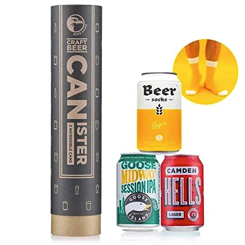 Beer Hawk Craft Beer Canister – Beer & Novelty Socks Gift Box Beer Hamper