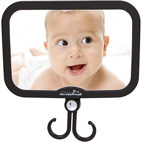 Baby Car Mirror - for Boys and Girls - with Accessories Hook! Best Back Seat View of Infant or Newborn in Rear-Facing Child Car Seat! Perfect Shower or Registry Gift by Precious Gift