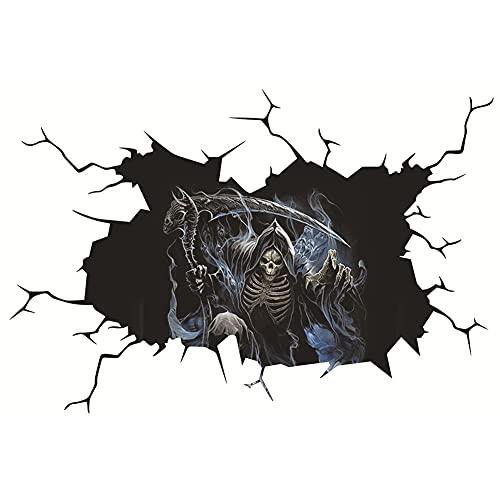 Pegatinas de pared de horror Halloween Halloween fantasma cráneo fondo de pantalla calavera cabeza pegatinas 3D arte pegatinas de terror Paster hogar coche fiesta decoración