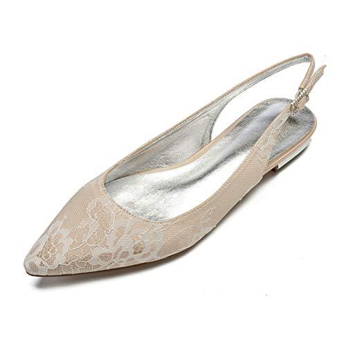 AQTEC Mujer Puntiagudos Cordón de satén Planos Ballerina Zapatos Moda Partido Zapatos de Novia de Boda con Hebillas y Tiras en la Parte Trasera,Champagne,40 EU