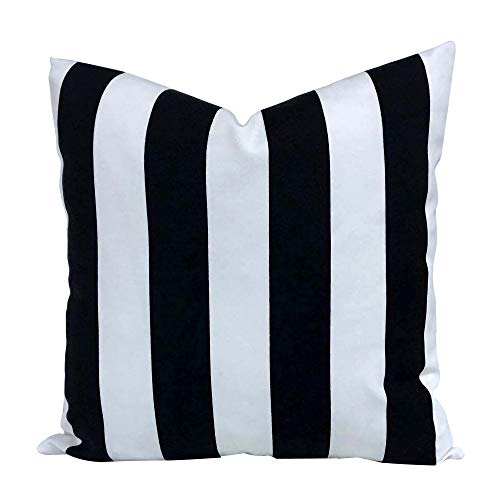 famibay Outdoor Decorative Pillows with Insert All Weather Patio Throw Pillow Black and White Stripe Cushion for Porch Garden Couch Bench 18quot x 18quot