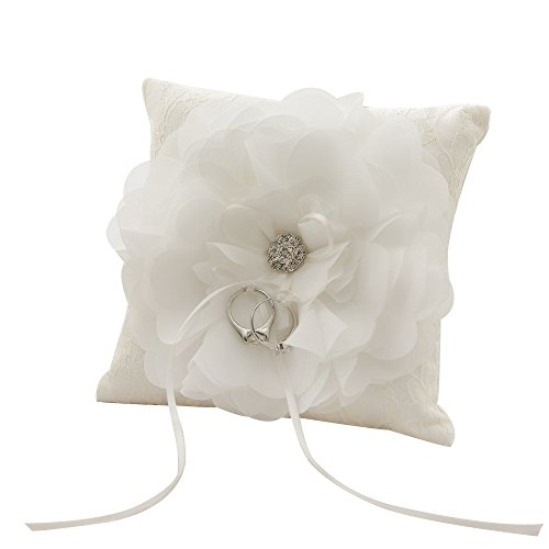 Amajoy Ivory Satin and Lace Wedding Ring Pillow with Flower Adornment and Ribbon Bow, 6 Inch(15cmx 15cm) Ring Bearer for Beach Wedding, Wedding Ceremony