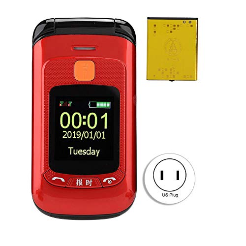 Zopsc F899 Flip Mobile Phones Unlocked with 2.4 inch Touch Screen Dual SIM Dual Standby Mobile Phone for Elderly Big Buttons, 2800mAh Battery Long Standby (Red)(US Plug)