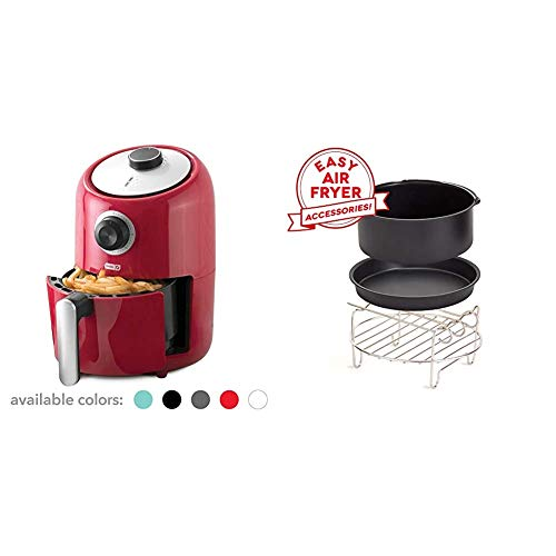 Dash (DCAF150GBRD02) Compact Air Fryer Oven Cooker with Temperature Control, Non Stick Fry Basket, Recipe Guide + Auto Shut off Feature, 2qt, Red & DCAF150UP1 Accessory Air Fryer, Compact