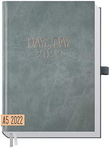 Chäff Organizer Day by Day 2022 A5 [Grau-Rosé] 1 Tag 1 Seite | Hardcover Tageskalender 2022 A5, Tagesplaner, Terminkalender, Terminplaner, Kalender | nachhaltig & klimaneutral