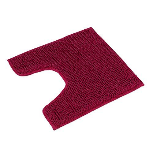 WohnDirect Badematte Pink • Badezimmerteppich zum Set kombinierbar, rutschfest & Waschbar • Badvorleger, WC Garnitur, Badteppich • MIT WC Ausschnitt • 45x45cm