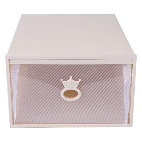 Cabilock Aufbewahrungsschuhe Box Stapelbar Schuhcontainer Schublade Typ Klar Schrank Regal Schuh Organizer für Sneaker Absatz Sandale Khaki