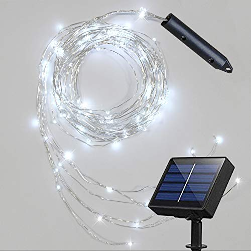 Soltuus Solar Powered 180 LEDs String Fairy Lights, Multi Strand Watering Can Light Outdoor, Waterproof Waterfall Fairy Lights, Cool White Firefly Bunch Lights