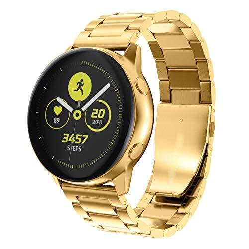 Lobwerk armband van metaal voor Samsung Galaxy Watch/Active 2/Gear Sport S2 Classic (20 mm) smartwatch horlogeband reservearmband, goud