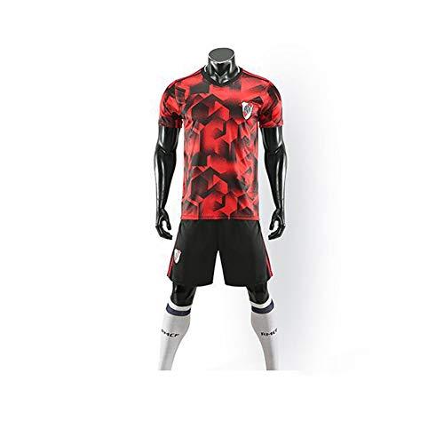 WWJJE 19-20 Nueva Temporada River Plate Team Home Court Camisetas de fanáticos del fútbol para Hombres Camiseta Deportiva + Shorts Deportivos S
