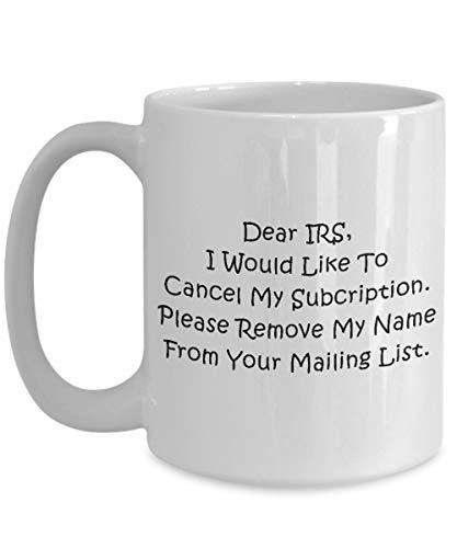 Härlig söt rolig unik CPA revisor kaffemugg perfekt present till födelsedag, julevenemang presentidé från vänner, medarbetare – kära irlar, jag skulle vilja avbeställa min prenumeration