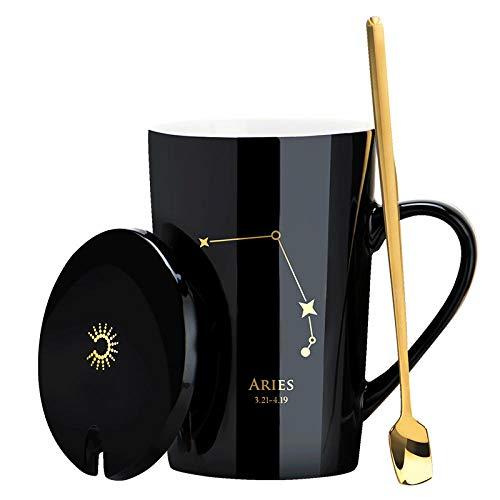 Koffie Bekers Mok Keramische Paar Cup   Home Office Thee Beker   Grote Capaciteit Beker Cover en Lepel   Zwart Goud Ram 450Ml