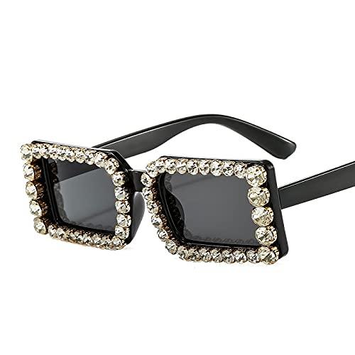 Gafas de sol de montura pequeña con diamantes, personalidad femenina, gafas de sol de cristal con diamantes