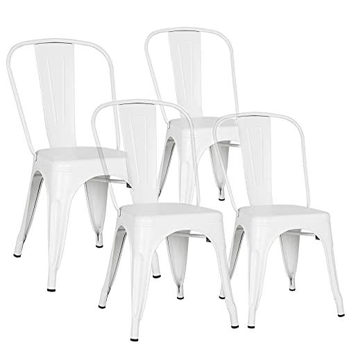 Sedia da pranzo in stile navy, in ferro battuto, stile industriale, sedia da bar (bianco)