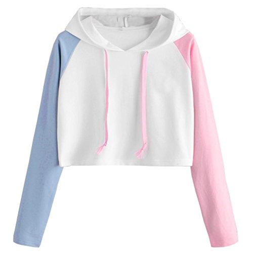 Femmes Fille Hoodie Patchwork Pullover Tops Manche Longue Sweat à Capuche Tops Blouse Courte Manteau Femme Sweat-Shirt à Capuche Femme (Blanc, M)