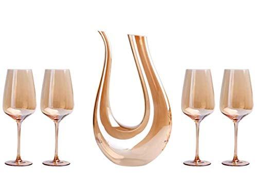 HJQL Decanter per Aeratore del Vino,Set per L'Ossigenazione del Vino in Cristallo Senza Piombo,Set di Bicchieri da Vino Dorati,Incluso Un Decanter da 1,5 L E 4 Bicchieri da Vino (Dorati)