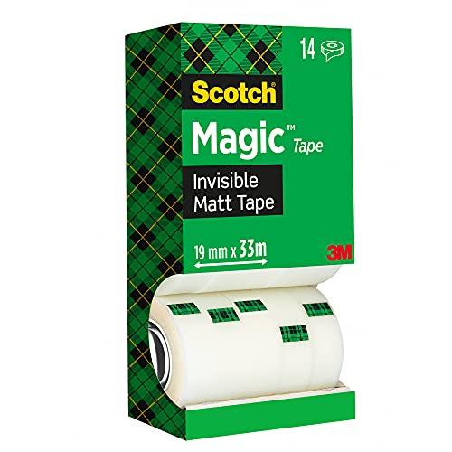 Scotch Magic Tape Nastro Adesivo Trasparente, 14 Rotoli 19 mm x 33 m Nastro Trasparente Opaco e Scrivibile Ottimo per Casa, Ufficio e Scuola