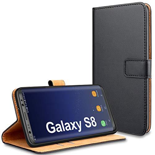 YNMEacc für Samsung S8 Hülle, Premium Handy Schutzhülle Leder Wallet Tasche Flip Brieftasche Etui Schale für Samsung Galaxy S8 Hülle - Schwarz