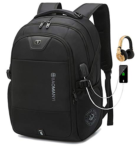 Travel Laptop Backpack, Work Bag Lightweight Backpack Mens for Girls/Boys Teenage Teens Rucksack with USB Charging Port and Earphone Port, Water Resistant School Bags (05 Black, 17,3 inch)