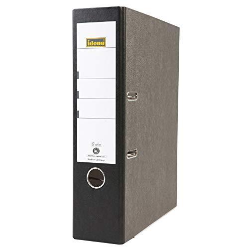 Idena 303001 - Ordner für DIN A4, 8 cm breit, FSC-Mix, Wolkenmarmor, schwarz, 1 Stück