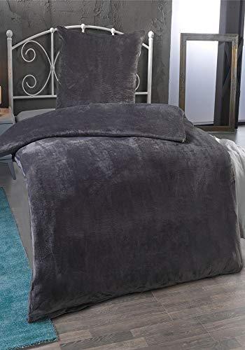MALIKA Winter Plüsch Bettwäsche Nicky-Teddy Cashmere Coral Fleece 135x200 155x220 200, Größe:155 x 220 cm, Designe:GRAU