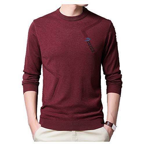 NOBRAND Frühlings-Pullover, Strickware, Rundhalsausschnitt, bestickter Pullover, Herren, dünn, schmal Gr. 56, gules