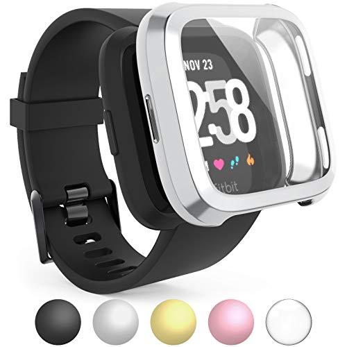 Caseflex - Carcasa protectora de pantalla para Fitbit Versa (poliuretano termoplástico, protector de pantalla integrado), diseño ultradelgado, plata
