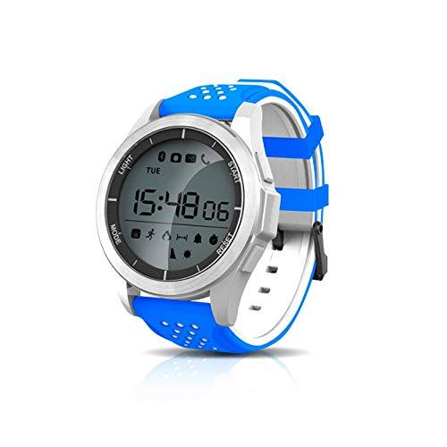 KawKaw F3 Sportuhr - Die 1,1 Zoll Smartwatch mit Silikon-Armband sowie einen integrierten Gesundheits- und Fitness-Monitor und rundem Display wurde konzipiert für aktive Menschen (Blau/Weiß)
