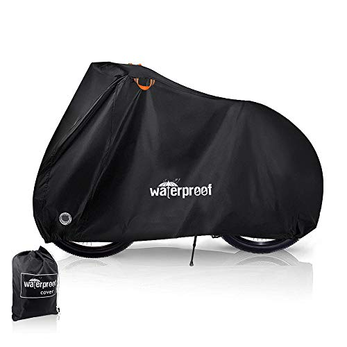 WOTOW Bike Cover, Waterproof Dustproof Durable Bicycle Cover 210T Oxford Fabric with Lock Hole Protector from Sun UV Rain Snow for Mountain Road Electric Bike Hybrid Outdoor Storage