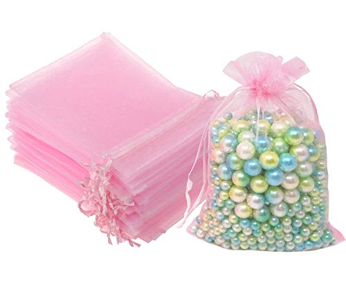100 Pcs 5x7 inches Gift Wrap Bags Pink, Organza Sheer See Through Fabric, Drawstring Satin Ribbon Pouches for Baby Shower Favor, Party Wedding Favors Decoration, Card Deck, Jewelery, Boys Holiday Gift