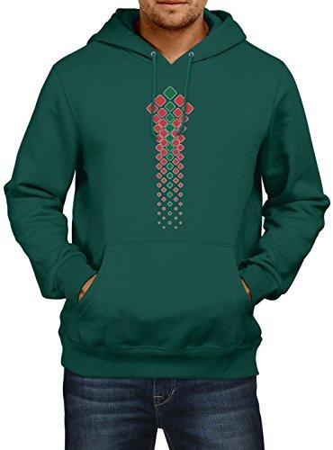 Shirt Happenz Marokko Weltmeisterschaft 2018#32 Premium Hoodie Fan Trikot Fußball WM Nationalmannschaft Herren Kapuzenpullover, Farbe:Dunkelgrün;Größe:S