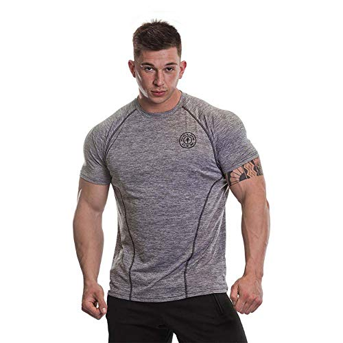 Gym Royaume-Uni GGTS060 Mens Workout Or Formation à Manches Courtes Respirant Performance Marl Raglan Manches T-Shirt, Gris Marl, 2XL