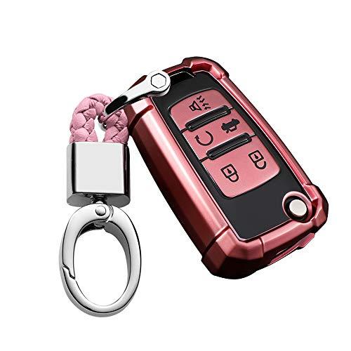 ontto Funda protectora para llave de coche para Chevrolet Cruze Cruze Camaro Equinox Malibu Sonic GMC mando a distancia de TPU 5 botones, color rosa