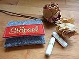 Tampon Täschchen grau - rot I kleine Tasche aus Filz für deine Utensilien I passt in jede...