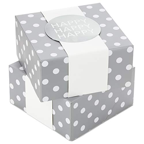 """Hallmark 8"""" Medium Gift Box Set with Wrap Bands (Pack of 2: Silver and White, """"Happy"""") for Christmas, Hanukkah, Weddings, Valentine's Day, Birthdays"""